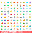 100 viral marketing icons set cartoon style vector image