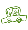 A green car with two kids riding vector image vector image