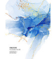 abstract watercolor blue marble and gold vector image