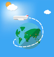 airplane fly around the planet vector image
