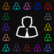 Avatar icon sign Lots of colorful symbols for your vector image vector image