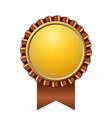 award ribbon gold icon golden brown medal design vector image