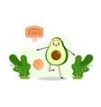 basketball player avocado with basketball ball vector image