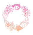 beautiful wreath flowers leaves tropical exotic vector image vector image