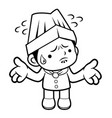 black and white cartoon chef mascot is doing not vector image vector image