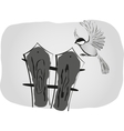 Black and white drawing bird sits on the fence vector image vector image