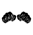 Black color arms with Thug Life tattoo on fingers vector image vector image