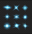 blue shine stars with glitters effect graphic vector image