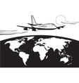 cargo plane flying around world vector image