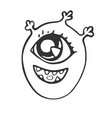 cartoon head of a cheerful one-eyed monster vector image vector image