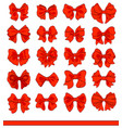 cartoon red bows set on white decorative vector image