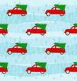 cartoon seamless pattern retro red car with tree vector image vector image