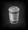 chalk sketch hot drink in paper cup vector image