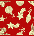 christmas pattern ornaments over red background vector image vector image