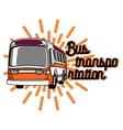 Color vintage bus transportation emblem vector image