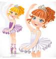 cute little ballerina girl in tiara and tutu vector image