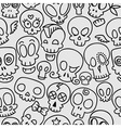 cute skulls pattern vector image vector image