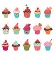 delicious yummy cupcakes set vector image