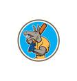 Donkey Baseball Player Batting Circle Cartoon vector image vector image