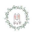 easter eucalyptus wreath with a sweet bunny vector image vector image