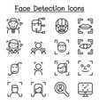 face detection recognition icon set in thin vector image vector image