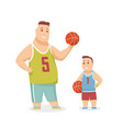 father and son playing basketball happy family vector image