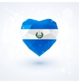 Flag of El Salvador in shape diamond glass heart vector image