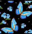 forget-me-not flowers and butterflies floral vector image