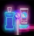 glow toothpaste toothbrush mouthwash bottle and vector image vector image