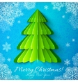 Green paper Christmas tree on blue background vector image vector image