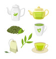 green tea ceremony set flat isolated vector image vector image