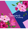 hello summer floral poster with hibiscus flowers vector image vector image