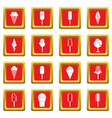 ice cream icons set red vector image vector image