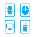 Icon set computer with coffee vector image vector image