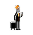indian man with travel bag and ticket in hands vector image vector image