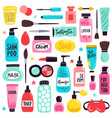 makeup skincare elements cosmetics products vector image vector image