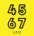 numbers linear design set number 4 5 6 7 vector image vector image