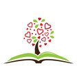 open book and tree with red hearts vector image vector image