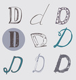 Original letters D set isolated on light gray vector image