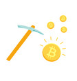 pickaxe and bitcoins mining cryptocurrency vector image vector image