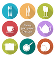 Round icons set of kitchen utensil in color vector image