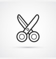 scissors flat line cut icon eps10 vector image