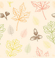 seamless pattern with oak and maple leaves vector image