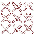 Set of crossed kitchen knives vector image vector image