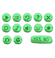 Set of stone round green game icons vector image