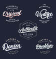 set vintage brooklyn denim original and vector image vector image