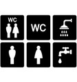 set wc signs with shower and tap vector image