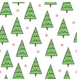 simple green christmas trees with red stars vector image vector image
