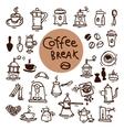 Sketch doodle coffee icon set Hand drawn vector image vector image