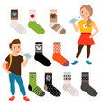 socks for girls and boys vector image vector image